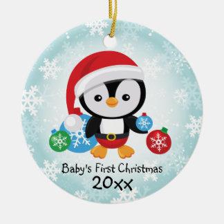 Ornamento do pinguim do Natal do bebê primeiro