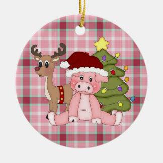 Ornamento do porco do feriado do Natal
