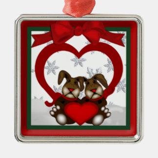 Ornamento do prêmio dos coelhos do amor do Natal