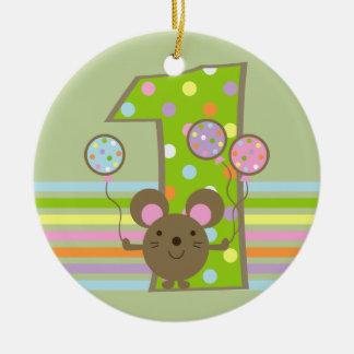 Ornamento do primeiro aniversario do verde do rato