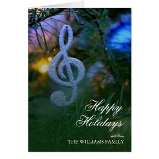 Ornamento do símbolo de música da árvore de Natal Cartão Comemorativo