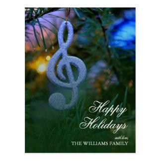 Ornamento do símbolo de música da árvore de Natal Cartão Postal