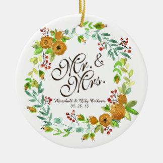 Ornamento do Sr. & da Sra. Floral Aguarela