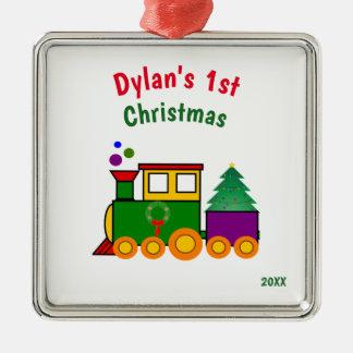 Ornamento do trem do Natal do bebê primeiro