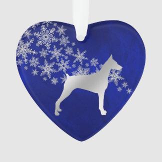 Ornamento Doberman de prata azul do floco de neve