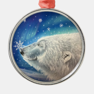 Ornamento dos flocos de neve do urso polar