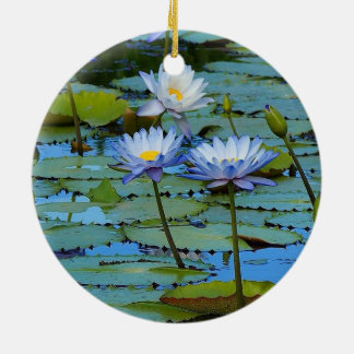 Ornamento dos lírios de água azul