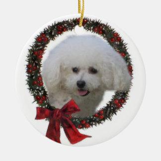 Ornamento dos presentes do Natal de Bichon Frise