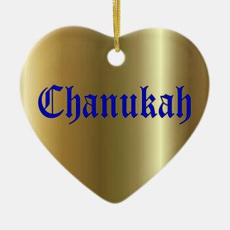 Ornamento dourado azul do coração de Chanukah