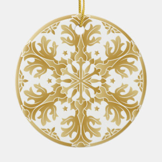 Ornamento dourado bonito do círculo do floco de