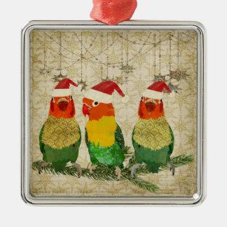Ornamento dourado de três pássaros