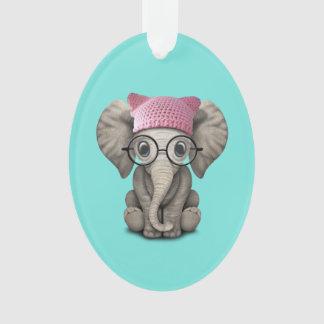 Ornamento Elefante bonito do bebê que veste o chapéu do