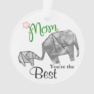 Ornamento Elefante de Origami da mãe & da criança com texto