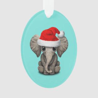Ornamento Elefante do bebê que veste um chapéu do papai noel