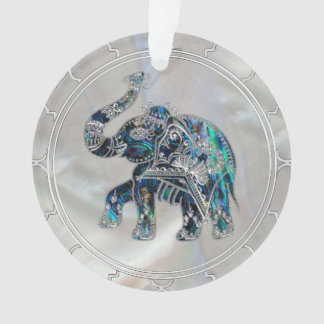 Ornamento Elefante quadro prata no olmo e na pérola
