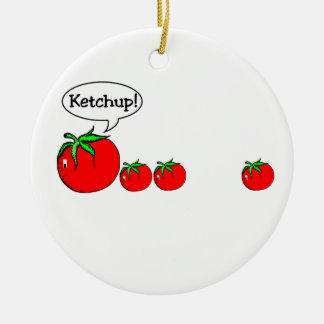 Ornamento engraçado da piada da ketchup