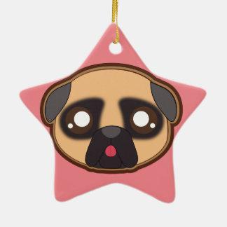 Ornamento engraçado do pug de Kawaii