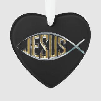Ornamento Entalhe dos peixes de Jesus