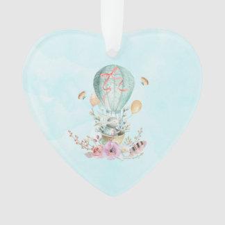 Ornamento Equitação lunática do coelho em um balão de ar