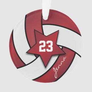 Ornamento Escuro - nome vermelho e branco do voleibol 3  DIY