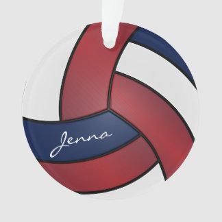 Ornamento Escuro - texto vermelho, azul e branco do voleibol