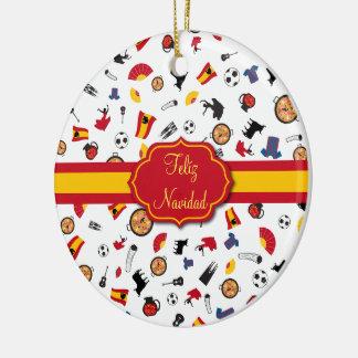 Ornamento espanhol de Feliz Navidad da bandeira