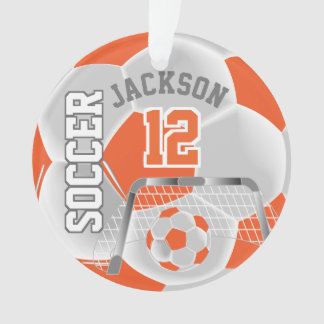 Ornamento Esporte alaranjado & branco do futebol