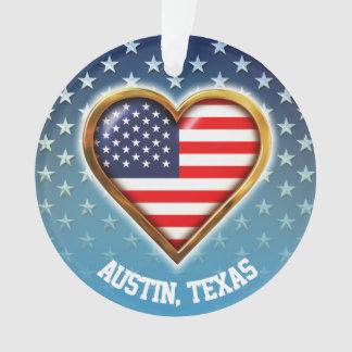 Ornamento Estrela-E bandeiras americanas dadas forma coração