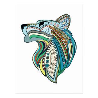 Ornamento étnico principal do lobo cartão postal