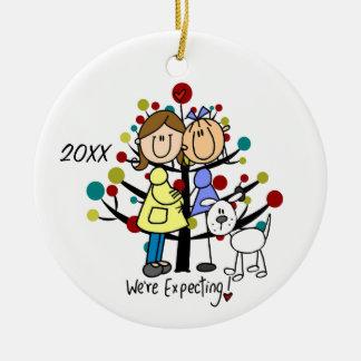 Ornamento expectante do feriado do cão das mães do