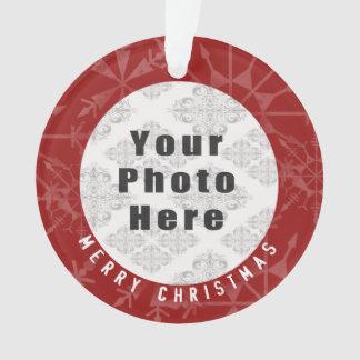 Ornamento Feliz Natal 1 floco de neve/texto vermelhos da
