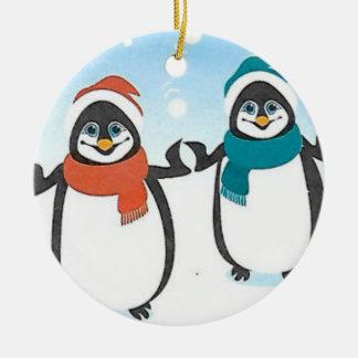 Ornamento felizes do feriado dos pinguins