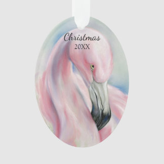 Ornamento Feriado Pastel da arte do flamingo cor-de-rosa