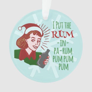 Ornamento Feriado retro do rum do bebendo da mulher do Natal