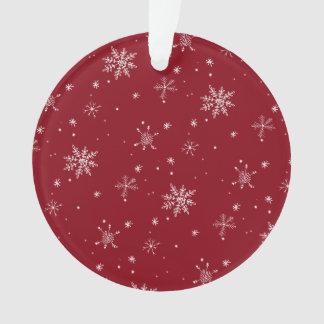 Ornamento Feriado vermelho do teste padrão do floco de neve