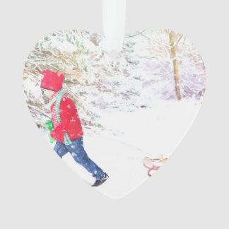 Ornamento Feriados do Natal do menino do trenó do inverno da