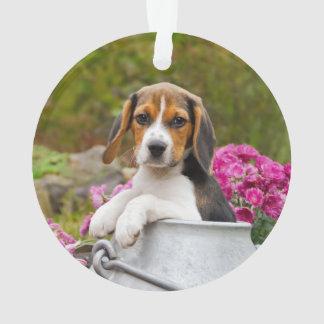 Ornamento Filhote de cachorro Tricolor bonito do cão do
