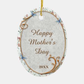 Ornamento floral azul bonito do dia das mães da