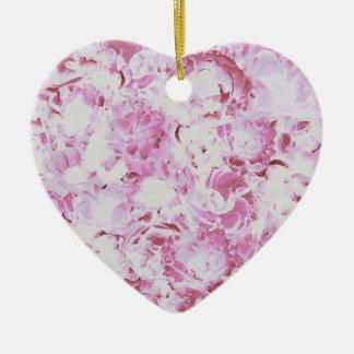 Ornamento floral cor-de-rosa do coração do teste