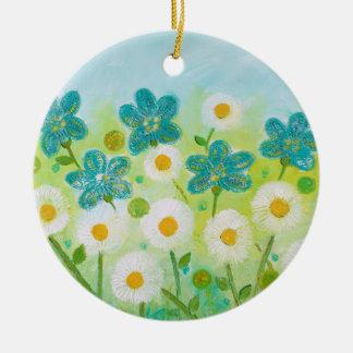 Ornamento floral da margarida por pinturas de