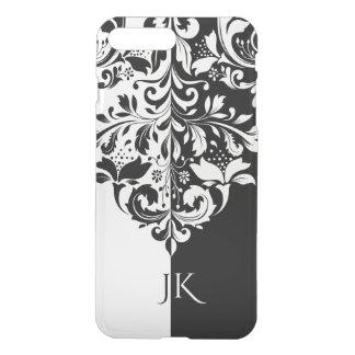 Ornamento floral elegante da tela preta & branca capa iPhone 8 plus/7 plus