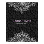 Ornamento floral elegante do vintage preto & branc panfletos personalizado