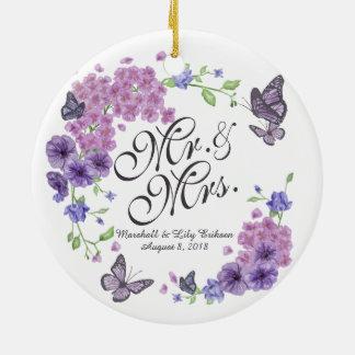 Ornamento floral personalizado do casamento das
