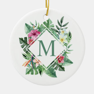 Ornamento floral tropical do monograma | do quadro