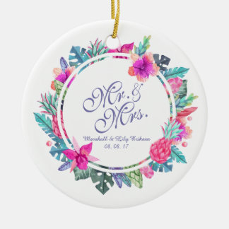 Ornamento floral tropical personalizado do
