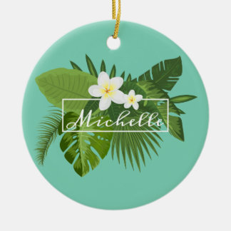 Ornamento floral tropical personalizado do quadro