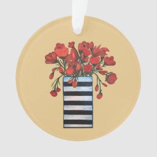 Ornamento Flores vermelhas no vaso listrado preto e branco