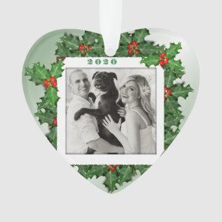 Ornamento Folhas dadas forma coração do azevinho do Natal da