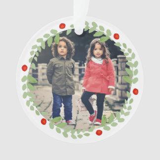 Ornamento Foto da grinalda do Natal da aguarela