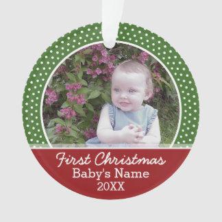 Ornamento Foto do Natal do bebê primeira - vermelho e verde
